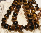 Tiger Eye 14mm , Gemstone Round Beads 1 Strand T016