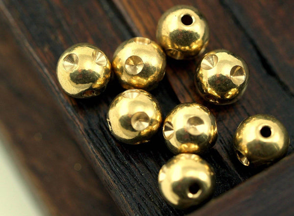 20 Raw Brass Beads With Rhinestone Setting , Findings (8 Mm) A0679