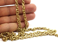 Link Chain, Big Chain, 2 M Open Link Raw Brass Chain (5.7x6.9mm) Or5769