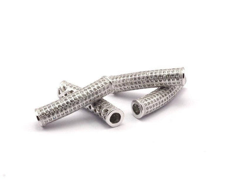 1 Silver Tone Tube , Hole Size 4mm. Cz Cubic Zirconia Micro Pave Beads 29x7mm Hole Size 4mm W00710 R062