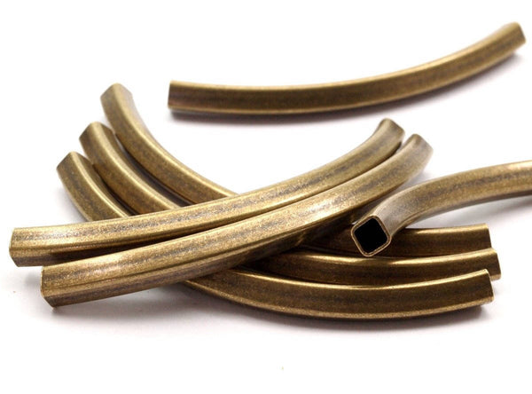 5 Square Oval Antique Brass Tubes (75x5x5mm) Sq14