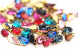5 Siam Swarovski Crystal Drop With Raw Brass Prong Setting 13x8 Mm Y359