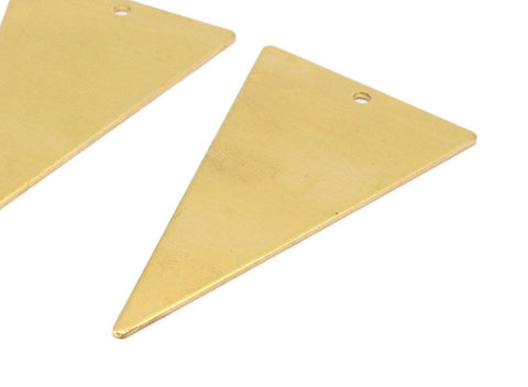 1 Loop Triangle Pendant, 6 Raw Brass Triangle Pendants With 1 Holes (50x28x0.80mm) A0928