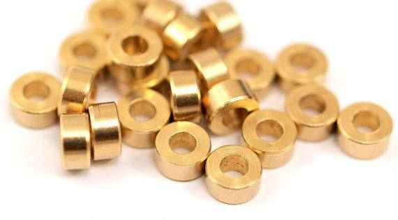Brass Industrial Spacer Beads - 25 Raw Brass Industrial Findings, Spacer Beads (6 X3mm) A0435