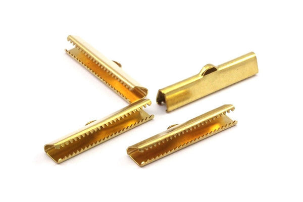 Ribbon End Claps, 20 Raw Brass Ribbon Crimp Ends With 1 Loop, Jewelry Findings (30mm) Brs 229 A0110