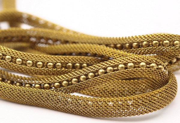 Brass Vintage Mesh Chain, 5 M Raw Brass Mesh Chain (7.5x4.50mm) Z110