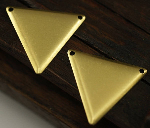 Brass Triangle Bulk, 200 Raw Brass Triangle Charms With 2 Holes (22x25mm) Brs 3014 A0052