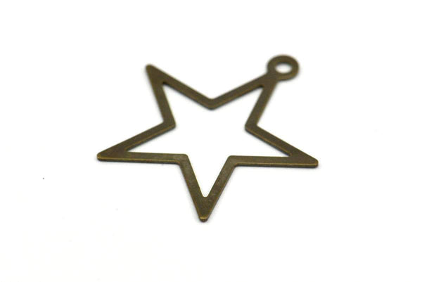 Antique Star Charm, 100 Antique Brass Star Charms, Findings (24mm) K157