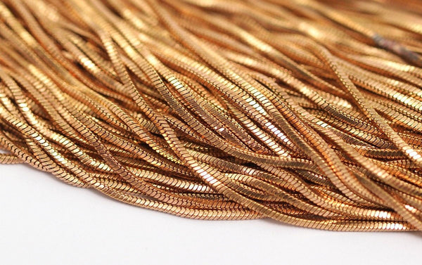 Red Snake Chain, 10 M Red Brass Snake Chain (1.3mm) - W68 Z051