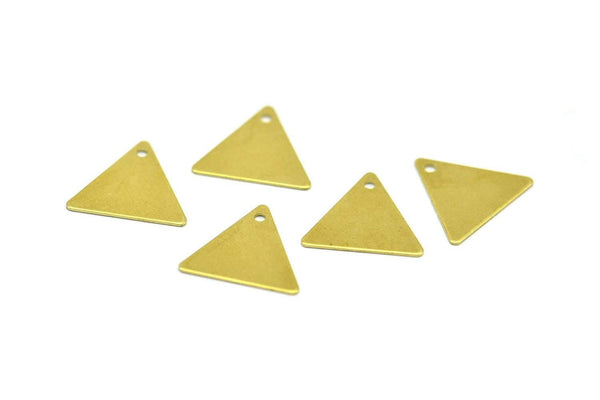 Tiny Brass Triangle, 250 Raw Brass Triangle Charms With 1 Hole (12x14mm) A0013