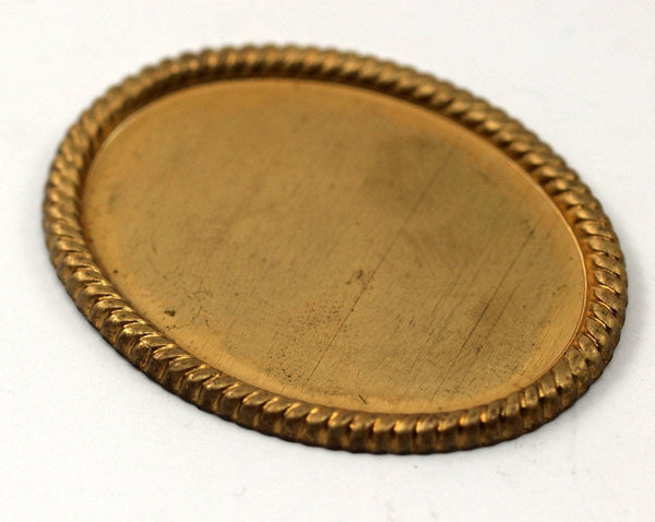 2 Vintage Raw Brass Oval Pendant Setting With (40x30mm) Cameo Base Without Hole