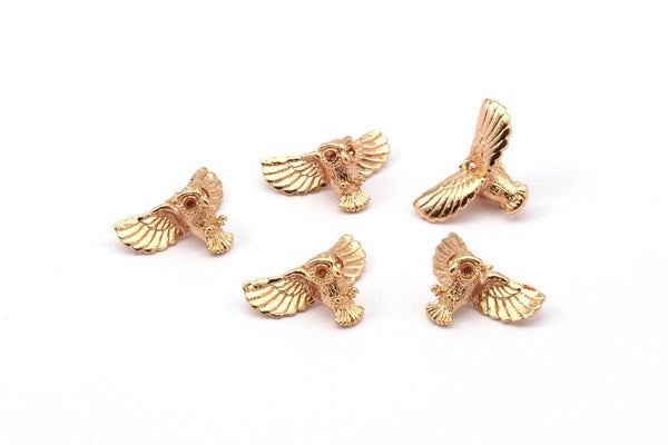Rose Gold Owl, 2 Rose Gold Brass Owl Necklace Pendants (18x10mm) N417