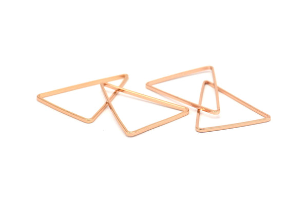 Rose Gold Triangle, 12 Rose Gold Plated Open Triangle Rings, Charms (20x26x0.9mm) D086