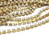 2 Feet Vintage 3mm Crystal Rhinestone Chain With Brass Frame - Made In Austria Au19 Z145