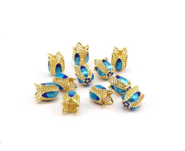 2 Enamel Tulip Beads (12x9mm) R075