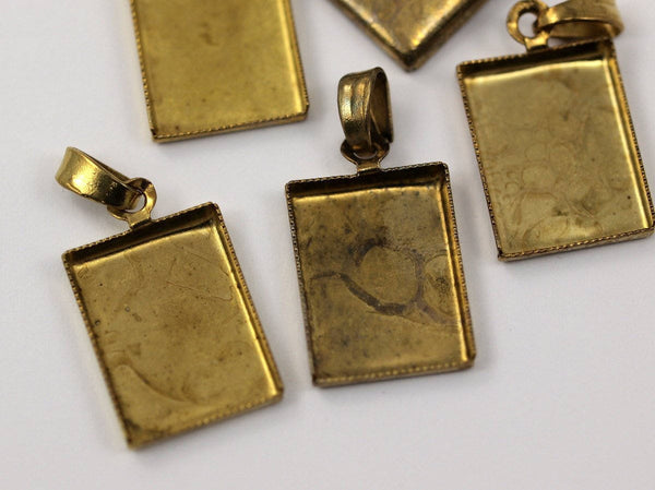 10 Vintage Raw Brass Rectangle Pendant And Earring Setting With 16x12 Mm Cameo Base