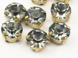 20 Ss45 Black Diamond Chaton Sew On Rhinestone Raw Brass Prong Setting 4 Hole Slider 10mm K345