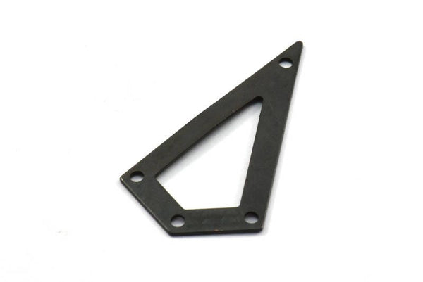 38mm Black Triangle, 4 Oxidized Brass Black Triangle Charms with 4 holes (38x20x0.60mm) U038 S222