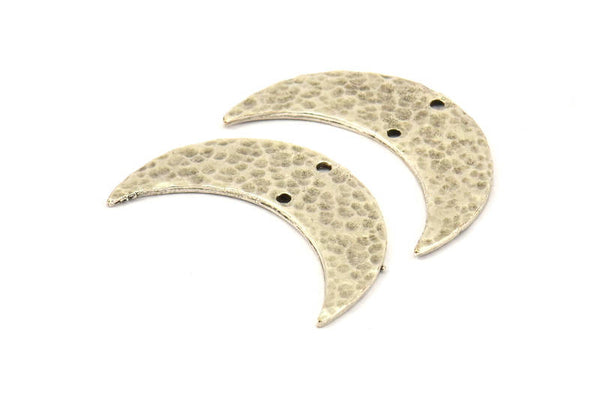 Antique Silver Hammered Crescent Finding, 2 Antique Silver Plated Brass Hammered Moons with 2 Holes (35x11x1.5mm) N211