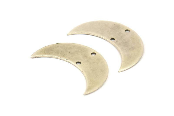 Moon Phase Pendant, 5 Antique Silver Plated Brass Crescent Shaped Pendants with 2 Holes (30x11x0.80mm) D081 H041