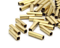 Geometric Tube Bead, 100 Huge Raw Brass Square Tubes (2x8mm) Bs 1563