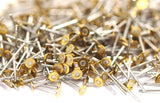 Earring Findings Set, 100 Stainless Steel Earring Posts With Raw Brass 3mm Flat Pad ,ear Studs ( A0391 )