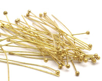 Raw Brass Pin, 100 Raw Brass Ball Pins (40mm) Bs1150