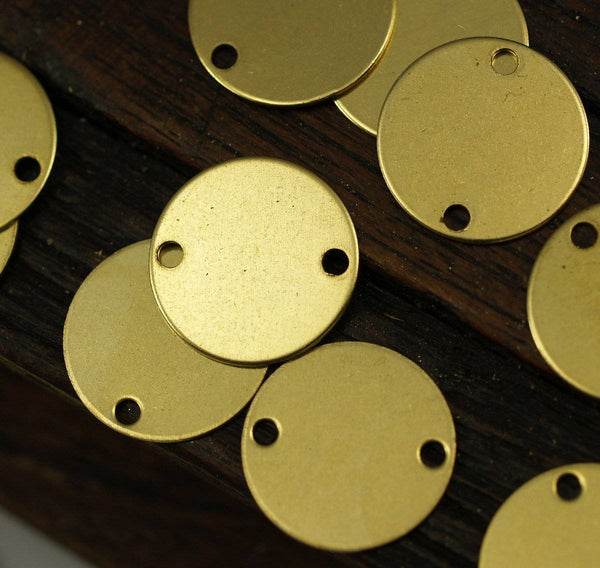Brass Round Connctor, 100 Raw Brass Stamping Blank Connectors (12mm) Brs 69 A0255
