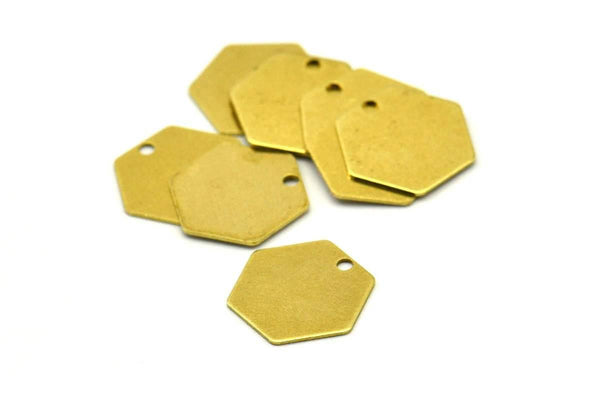 Bohemian Honeycomb Finding, 50 Raw Brass Hexagon Stamping Blanks, Tags, Charms (12mm) Brs 4090d A0157