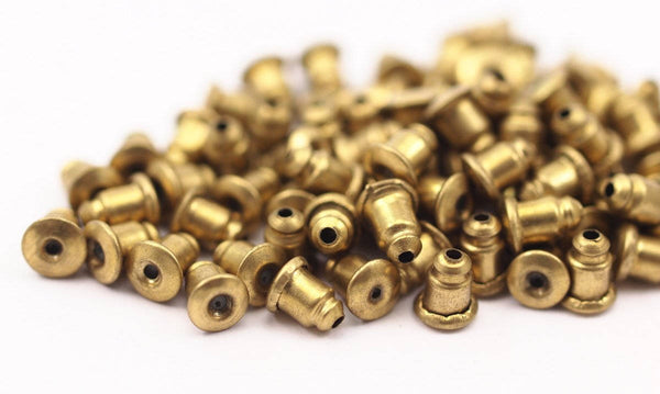Earring Back Stopper, 50 Raw Brass Earring Back Stopper, Earnest (6x5mm) ( A0321 )