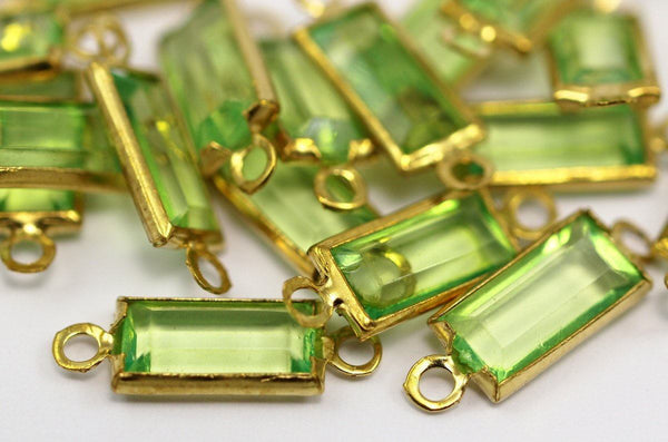 20 Lucite With Brass Frame Caged Connectors 16x5.50 Mm L35 F059