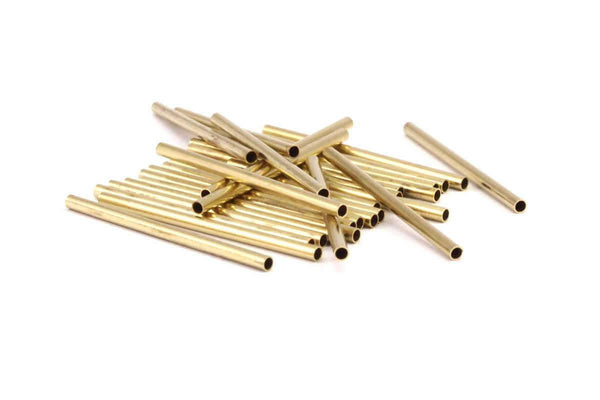 Raw Brass Tubes - 50 Raw Brass Tube Beads (2x35mm) D227