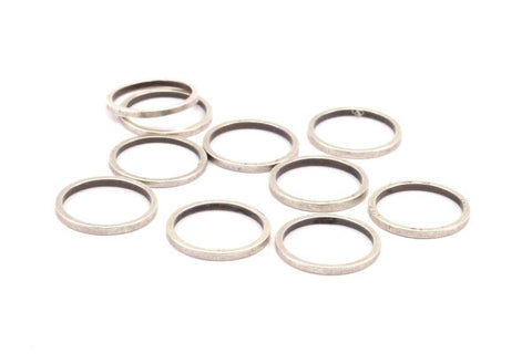 13mm Silver Rings - 12 Antique Silver Brass Circle Connectors (13x1x1mm) Bs 1100 H001