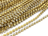 2 Feet Vintage 2.6mm Crystal Rhinestone Chain With Brass Frame - Made In Austria Au01 Z145