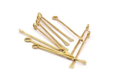 12 Customized Size Raw Brass Paddle Eye Pins D374