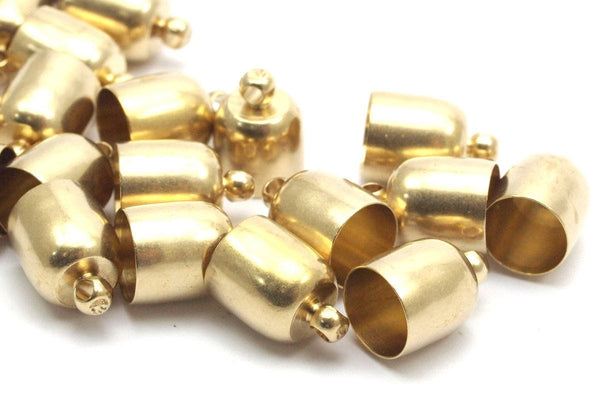 Brass Chain End, 25 Raw Brass End Cap, Cord Tip Cord End (9x13mm) Bs1664