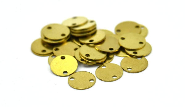 Brass Stamping Connector, 50 Raw Brass Round Tags, With 2 Holes Connectors, Stamping Tag (8mm) Sb 75 ( A0253 )