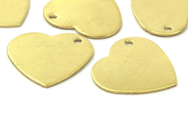 Heart Stamping Blanks, 10 Raw Brass Heart Stamping Blanks, Charms (19x20x0.80mm) D008--y318
