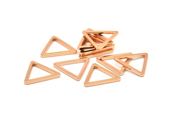 Rose Gold Triangle, 10 Rose Gold Plated Open Triangle Rings, Charms (12x1.2mm) D107