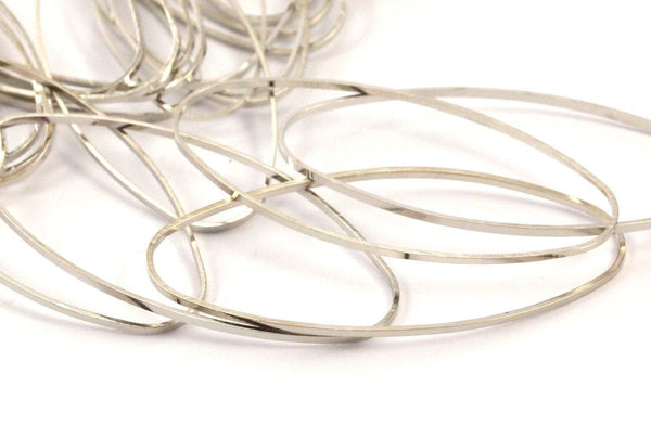 Silver Oval Ring, 30 Silver Tone Brass Oval Connectors (40.5x19mm) D217--y355