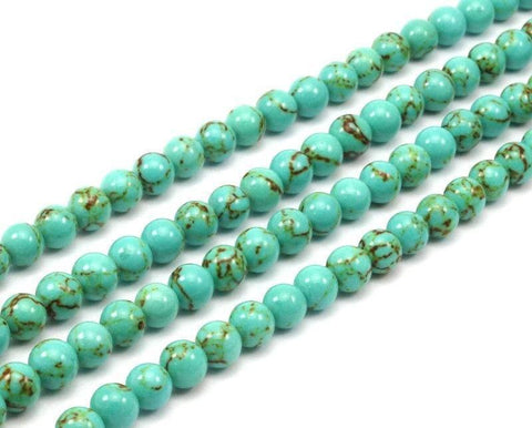 1 Strand Turquoise 8mm Round Gemstone Round Beads 15.5 Inches G279 T002