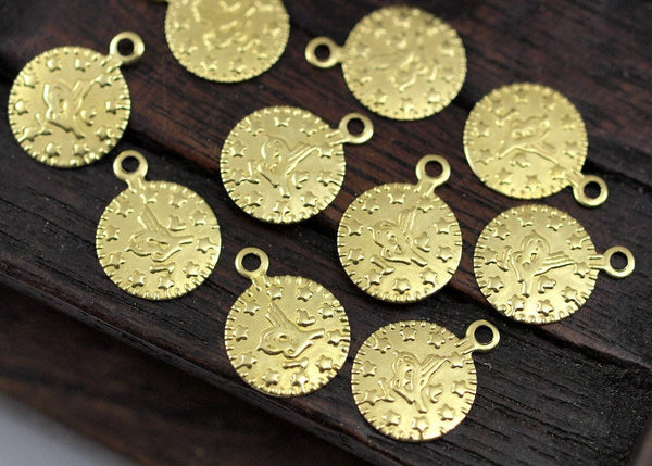 Brass Coin Charm, 50 Raw Brass Round Ottoman Sultan's Signature Coin Charms, Findings (10mm) Brs 127 A0517
