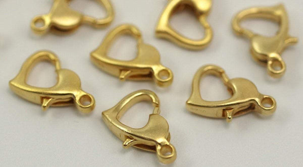 Gold Plated Heart Clasp, 10 Gold Plated Heart Lobster Clasps, Findings (12x8mm) A0819