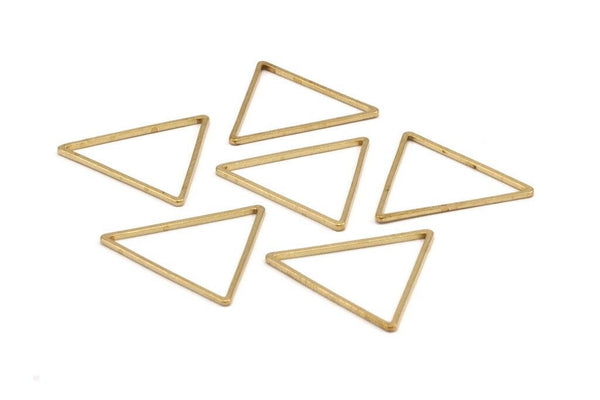Brass Triangle Charm, 25 Raw Brass Open Triangle Ring Charms (27x1mm) Bs 1028