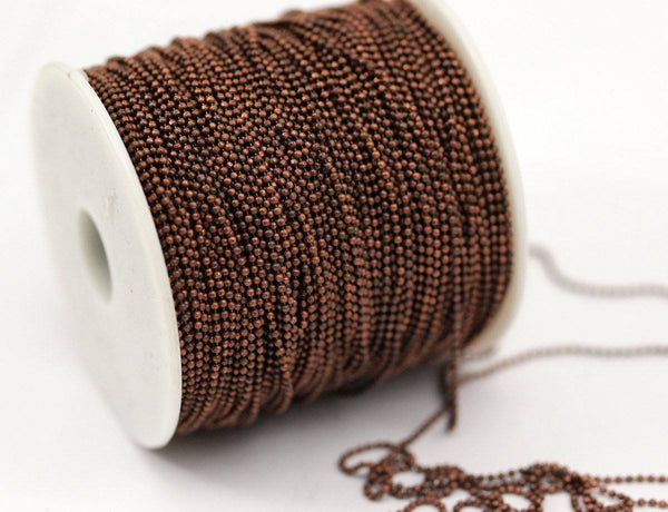 Tiny Copper Chain, 20 Meters - 66 Feet (1.2mm) Copper Brass Faceted Ball Chain W-75 (z049)