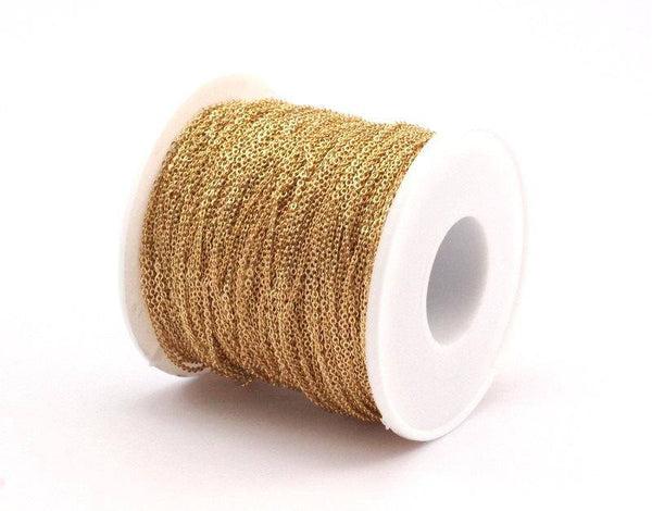 Gold Plated Chain, 20 Meters - 66 Feet (1.5x1.2mm) Gold Plated Brass Chain - Y006 (z161)