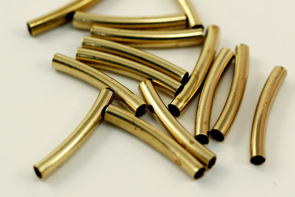 Brass Curved Tube - 50 Raw Brass Curved Tube Findings (21x3mm) Brs 494 A0719