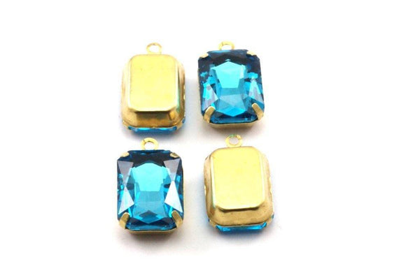 Aquamarine Glass Setting, 4 Octagon Aquamarine Glass Stones With 1 Loop Brass Prong Setting, Claw Settings (18x13mm) S602