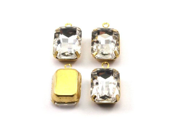 Crystal Glass Setting, 4 Octagon Crystal Glass Stones With 1 Loop Brass Prong Setting, Claw Settings (18x13mm) S605