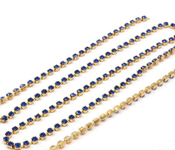 Chic Crystal Chain, 2 Feet Vintage (2.4mm) Sapphire Crystal Rhinestone Chain With Brass Frame - Made In Austria Au23 Z138